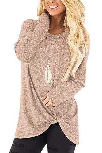 Xpenyo Women's Long Sleeve Tops TwistedSweatshirt Loose T Shirt Blouses Tunic Tops Light Khaki UK 6-8