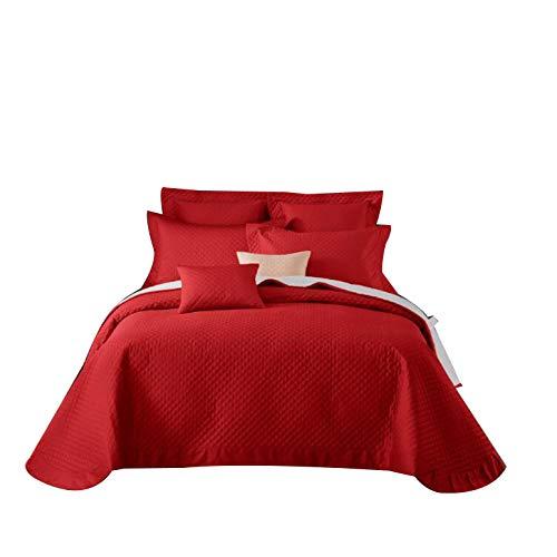 Gewatteerde en gewatteerde beddekking bed cover, 2 persoon bed hoesjes gewatteerd bed met 2 kussensloop, 230 * 250cm,Red,270 * 290cm