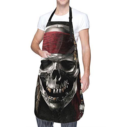 DAHALLAR Ajustable Colgante de Cuello Personalizado Delantal Impermeable,Calavera pirata,Babero de Cocina Vestido para Hombres Mujeres con 2 Bolsillos Centrales