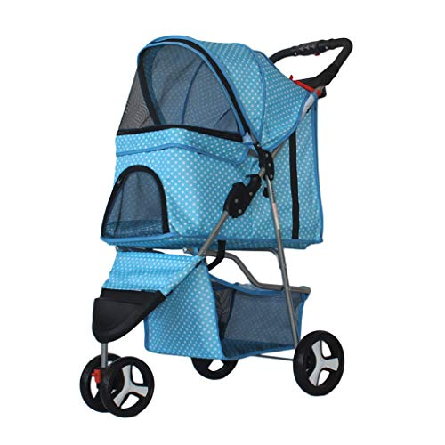 KHUY Passeggino 20kg 3 Ruote Passeggini per Media Piccola Cani Gatti, Cani Premium Passeggiatore della Carrozzina Buggy Facile con Una Sola Mano Fold (Color : Blue)