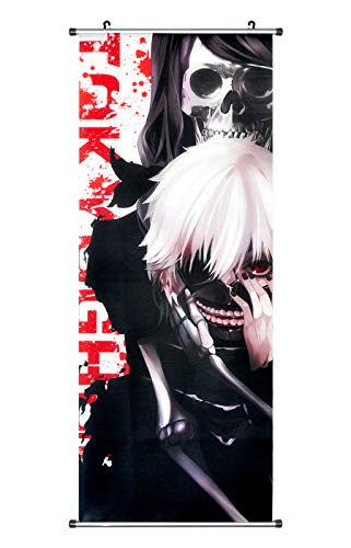 Kakemono/Poster Scroll Poster Anime Print Hanging Wall made of Fabric,100x40cm, design: For Ken Kaneki and Liz Kamishiro