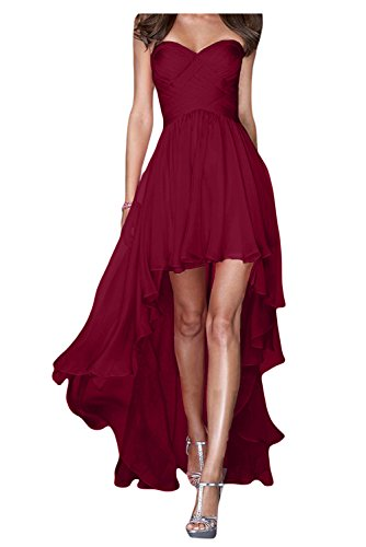 Gorgeous Bride Fashion Traegerlos Hi-Lo Chiffon Lang Abendkleider Festkleider Ballkleider -38 Weinrot