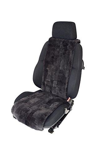 Leibersperger Autofell-Autositzauflage aus echtem Lammfell Patchwork 36cm Breite x138cm Länge - Schiefer