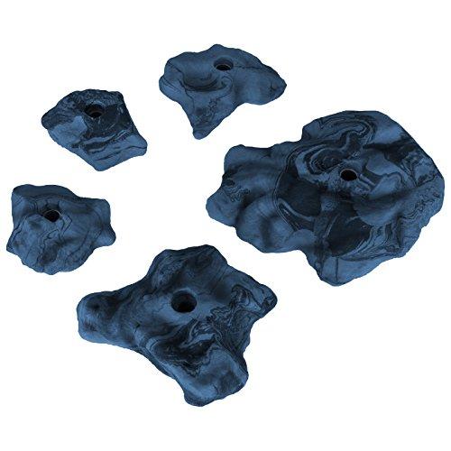 ALPIDEX 5 Klettergriffe Größe M bis XL - felsähnliche Struktur, für Fortgeschrittene und Profis, Farbe:blau-meliert