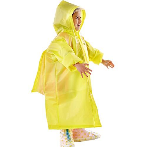 KESYOO 1 St Dikker Regen Poncho Jas Kinderen Regenjas Elastische Mouw Regenkleding Met Schooltas Hoes en Capuchon Voor Kinderen Buiten-Geel