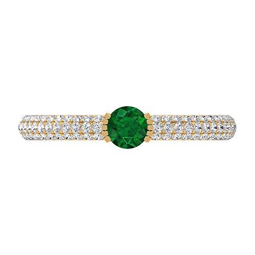 Anillo de esmeralda y diamante creado en laboratorio de 0,63 quilates, anillo solitario con piedras laterales, anillo de compromiso de oro (4 mm de forma redonda, 14K Oro amarillo, Size:EU 53