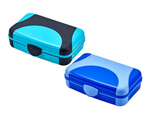 It's Academic Hard Pencil Case, Durable Plastic Pencil Box, Kid-Friendly Colors in Blue & Turquoise, 2-Pack