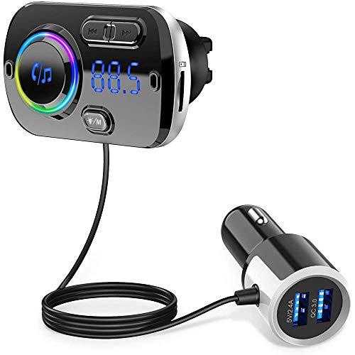 Upgrade Transmisor FM Bluetooth 5.0 Coche Manos Libres con 7 Colores Luz, Reproductor MP3 Coche Carga Rapida QC3.0, 2 USB 5V/3A&2.4A Inalámbrico Kit de Coche Soporte Tarjeta TF 32G, AUX, SIRI
