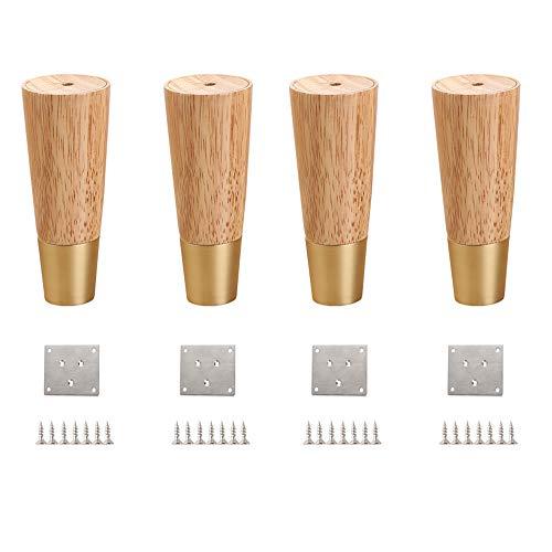 Furniture legs HXLQ Solid meubelpoten van hout, sofa-tafelpoten, conische poten voor meubels, geschikt voor poten en tafelpoten met schroeven en ribbels van de voet – 4 stuks