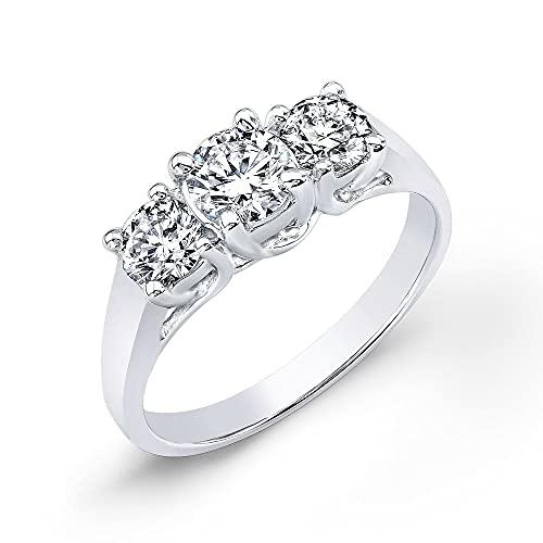 JewelsForum 1 Ct 3 Piedras Anillo De Alianza De Boda De Compromiso De Diamante De Corte Redondo Clásico Para Mujer 14K Oro Blanco Hi Color I Claridad