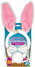 Halloween Bunny Ears 3 Piece Costume Set - Includes Blinking LED Ears, Bowtie, & Tail Outfit for Women, Men, Kids - One Size Fits All Headband