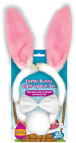 SCS Direct Easter Bunny Ears 3 Piece Costume Set - Includes Blinking LED Ears, Bowtie, & Tail Outfit for Women, Men, Kids - One Size Fits All Headband
