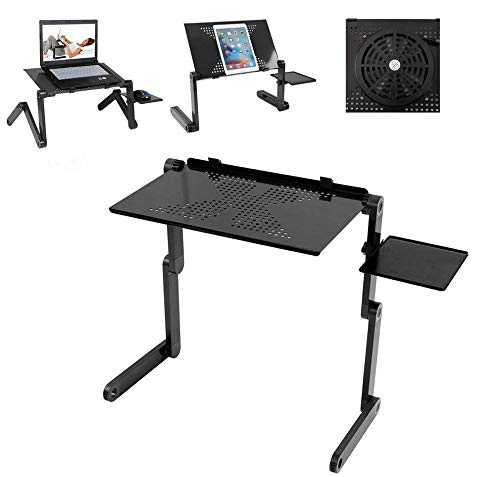 Laptop Table Stand,Folding Computer Standing Desk, Adjustable Laptop Tray with Cooling USB Fans & Mouse Board for Bed Sofa,Multifunctional Laptop Riser for Office Home