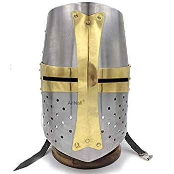 AnNafi Brass Crusader Helmet | Medieval Metal Knight Helmets | PREMIUM QUALITY with Fitted LEATHER LINER | Dark Crusades Helmet Wearable for Adult | Medieval Costumes