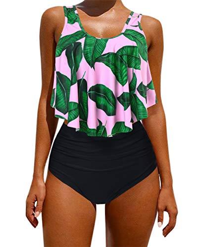 OMKAGI Women's Ruffle Bikini Swimsuit High Waisted Bottom Plus Size Swimwear Tankini(S,Pink Leaf)