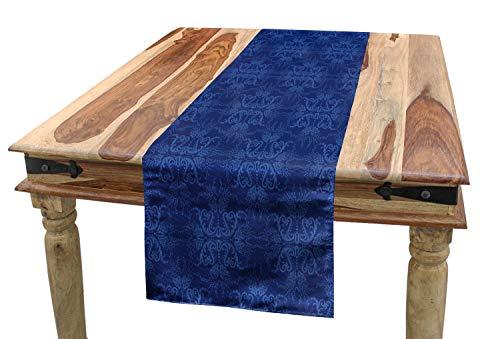 ABAKUHAUS Azul Marino Camino de Mesa, Adorno Victoriano, Decorativo para el Comedor o Sala de Estar Estampa Digital, 40 x 180 cm, Azul