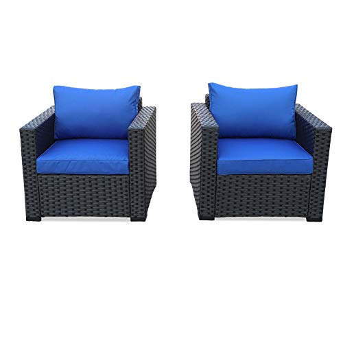 Patio Rattan Wicker Single Chair-Outdoor Armchair Sofa Furniture with Thick Blue Cushion,Steel Frame,Set of 2