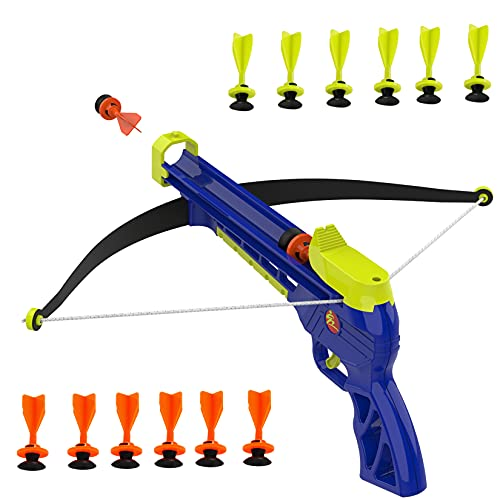 Goldboy Kids Crossbow Set with Target, Archery Set with Bow and Arrows, Safe & Sturdy Toy Bow Includes 12 Suction Darts for Boys and Girls Above 8 Year Old