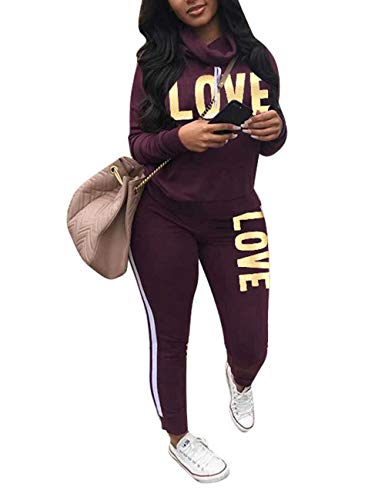 Women Casual Sport Cowl Neck Sweatshirt Long Skinny Pant Set Letter Print 2 Piece Tracksuit Purple L
