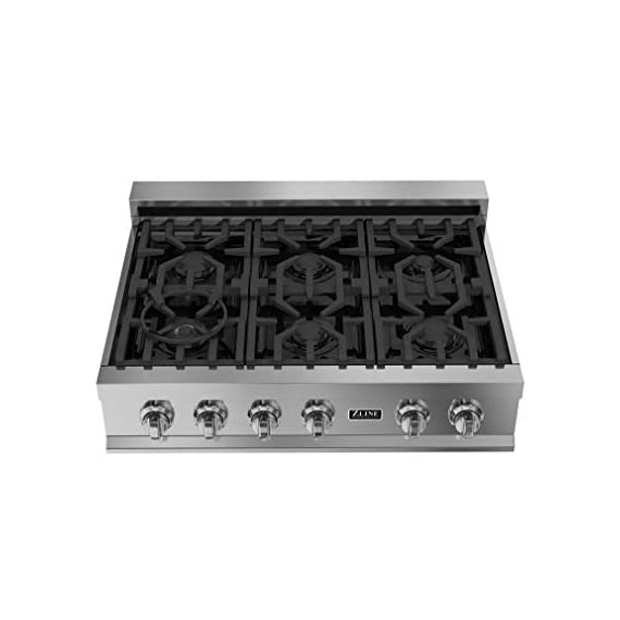 Zline rt36 36-inch porcelain rangetop with 6 gas cooktop italian burners with cast iron grill stovetop, stainless steel 1 heavy duty italian made porcelain one piece cook top with 6 burners provide the perfect range of cooking power from 4,200 to 18,000 btu's. Durable and easy to clean top controls. Italian burners easily detach for a simple clean. Solid-piece cast iron grill - heavy duty and built to last. Extremely durable, with an exceptional strength-to-weight ratio.