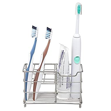 Amazer Toothbrush Holder Stainless Steel Rustproof Metal Bathroom Toothpaste Holder Stand with Multi-functional 7 Slots for Toothbrush Toothpaste Cleanser Comb