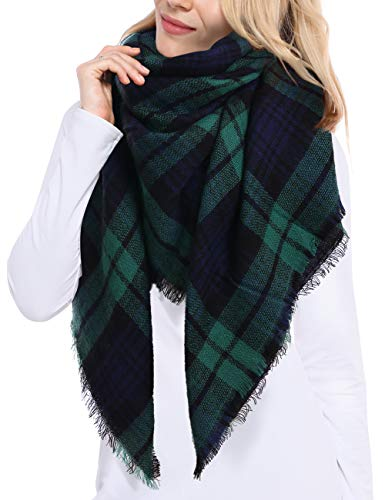 Bess Bridal Women's Plaid Blanket Winter Scarf Warm Cozy Tartan Wrap Oversized Shawl Cape (One Size, Green)