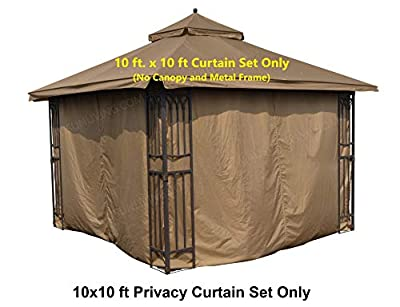 APEX GARDEN Universal Privacy Curtain Set for 10' x 10' Gazebo (10-ft x 10-ft, Tan)
