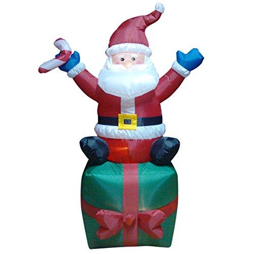 The Christmas Workshop 81340 Père Noël Gonflable sur Cadeau avec LED Multicolore 183 cm