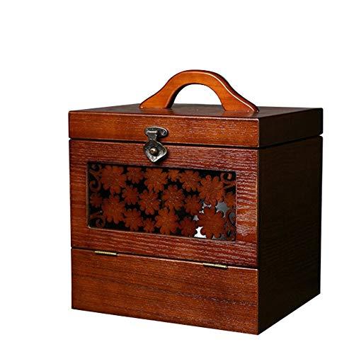 Sunferkyh-hm Caja de Almacenamiento de Joyas Antiguo de la joyería Caja de Almacenamiento Retro intrincado Relieve Caja cosmético de Madera del Tesoro Caja de Regalo de cumpleaños para Mujeres