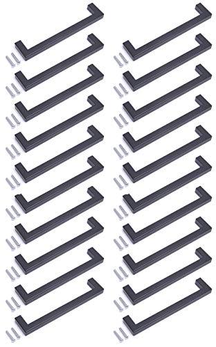 Pomo para puerta de armario de cocina, diseño cuadrado, color negro, acabado mate (20, 192 mm)