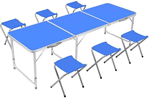 Mesa de camping de 6 pies con sillas Mesa de picnic portátil...