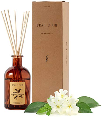 Craft & Kin Reed Diffuser Sticks 'Orange Blossom & Lotus Scent' Set, includes 8 Rattan Scented Sticks Diffuser Reeds, All-Natural Essential Oil & Amber Glass (5.75oz) | Provides Constant Fragrance