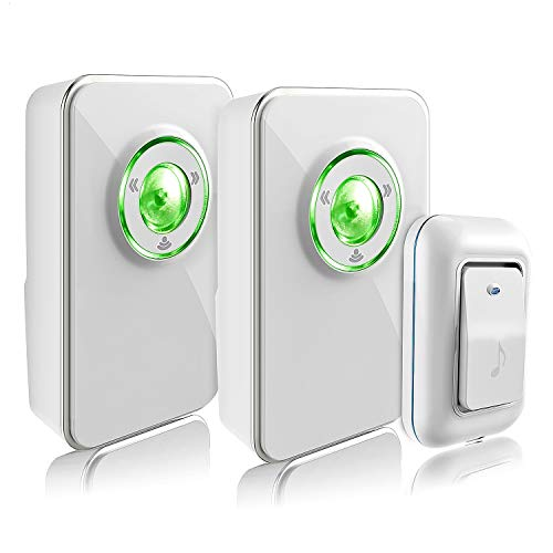 Wireless Doorbell, Merisny Doorbell Kit with 2 Receivers and 1 Remote Button, 36 Chimes 4 Volume Levels Operating at 1000 ft Range with Green Strobe Light (White Two Receivers)