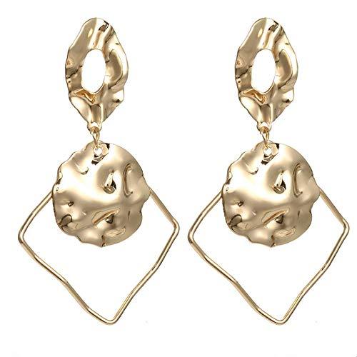 Metall-Ohrringe, gehämmert, geometrisch, baumelnd, Bohemian-Stil, hohl, quadratisch, oval, Statement-Ohrstecker, übertriebener Modeschmuck für Frauen
