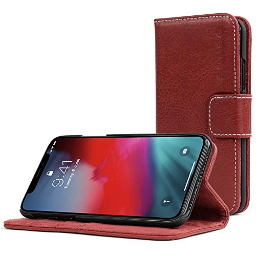 Snugg iPhone Xs (2018) / X (2017) Wallet Case Leather Card Flip Cover Red