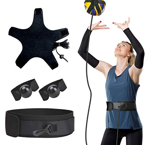 TOBWOLF Volleyball Training Equipment Aid, Elastic Self-Training Volleyball Resistance Band with Adjustable Waist Belt & Ball Pouch & Hand Strap for Practicing Serving, Spiking, Arm Swing Passing