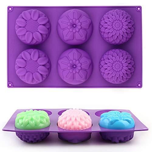 AILEHOPY Silicone Flower Shape Soap Molds 3 Packs 6-Cavity Trays for Homemade Cake Chocolate Cupcake Mold Fondant Shape Decorating Ice Cube - Purple Blue Pink
