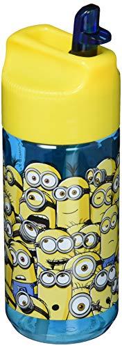 p:os 24648 Minions Transparente Trinkflasche mit integriertem Strohhalm