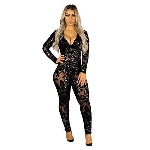 Erotic underwear-ZY Damen-Reizwäsche Kostüme Für Erwachsene BH-Hemden Für Damen Sexy Slim Perspective Deep V Coverall Nightclub Service Black S