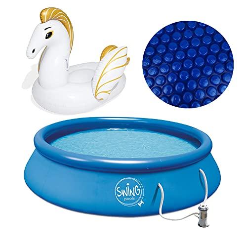 well2wellness® Quick-Up Pool Aufstellbecken Swing Ø 305 x 76 cm blau inkl. Filterpumpe 230 V Plus Solarfolie blau Ø 3,05 m und Schwimmtier Pegasus