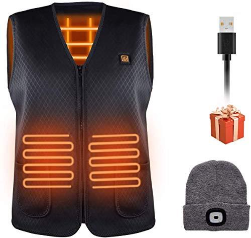 Facio Gilet Riscaldato Elettrico USB Uomo Donna, Giubbotto Riscaldato + 1 Cappello , 3 Temperature Regolabili Lavabile Abbigliamento Riscaldato per Moto, All'aperto Lavoro, Escursionismo Sci Pesca