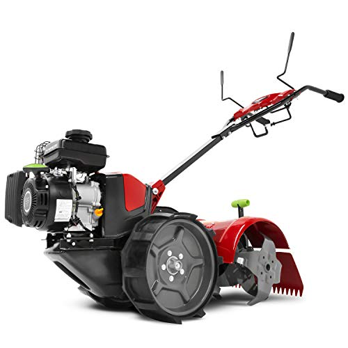 EARTHQUAKE 31285 Pioneer Dual-Direction Rear-Tine Tiller Airless Wheels, Independent Grip Handles, 5-Year Warranty, Red/Black
