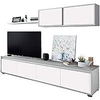 Habitdesign 016663L - Mueble de salón Moderno, modulos Comedor Alida, Medidas: 43 cm de Altura x 200 cm de Ancho x 41 cm de Fondo (Blanco Artik y Gris Cemento)