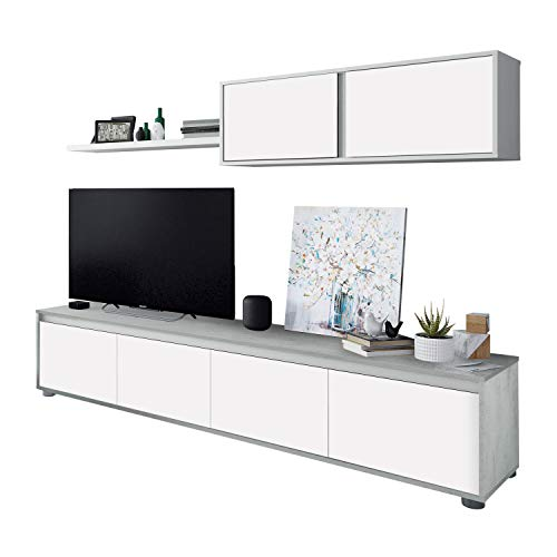 Habitdesign 016663L - Mueble de salon Moderno, modulos Comedor Alida, Medidas: 43 cm de Altura x 200 cm de Ancho x 41 cm de Fondo (Blanco Artik y Gris Cemento)