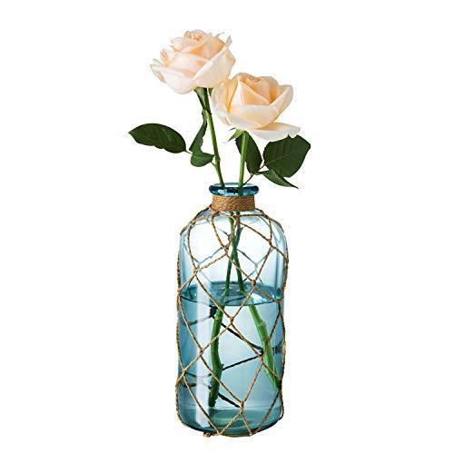 Diamond Star Rustic Glass Bottle Vase Decorative Blue Flower Vase with Creative Rope Net (Large)