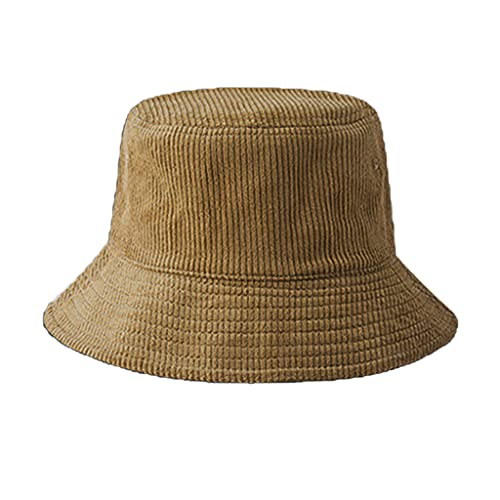 OKwife Unisex Winter Warm Corduroy Velvet Bucket Hat Ribbed Solid Color Fisherman Cap
