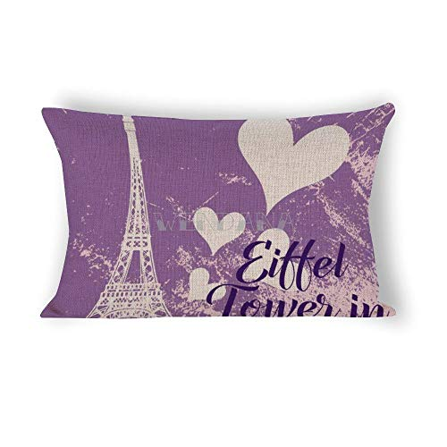 happygoluck1y - Federa rettangolare per cuscino con torre Eiffel a Parigi 40 x 60 cm, in lino, decorazione per divano, Natale, regalo di compleanno