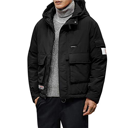 Find Discount Alalaso Men's Lightweight Puffer Down Casual Pure Color Hooded Warm Cotton Clothing Co...
