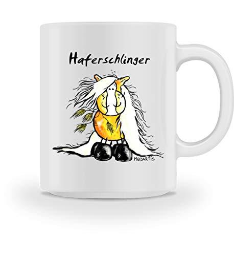 Shirtee Lustiges Haferschlinger Haflinger Comic Pferd - Tasse -M-White