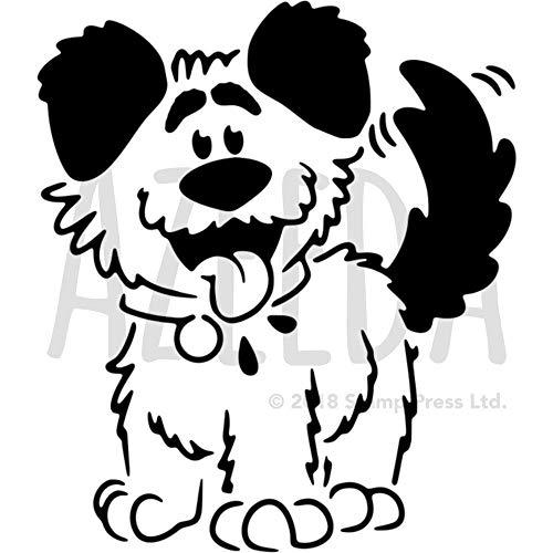 Azeeda A4 'Flauschiger Hund' Wandschablone / Vorlage (WS00026031)